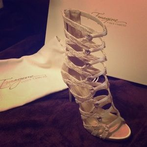 NWT Imagine Vince Camuto gold lace gladiator heel